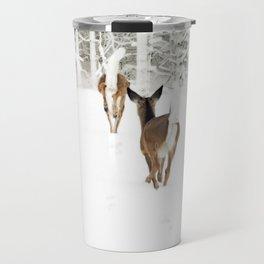 Doe In Winter Travel Mug