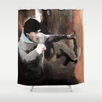 rocky Shower Curtains featuring ROCKY by Erased Account