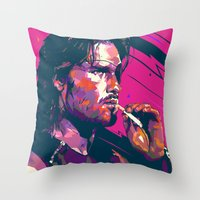 metal gear Throw Pillows featuring ESCAPE FROM METAL GEAR by mergedvisible