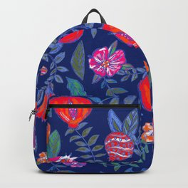 Pomegranate pattern electric blue Backpack