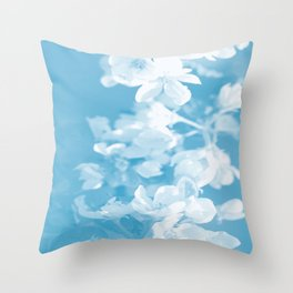 Spring Atmosphere White Flowers Sky Blue Background #decor #society6 #homedecor Throw Pillow