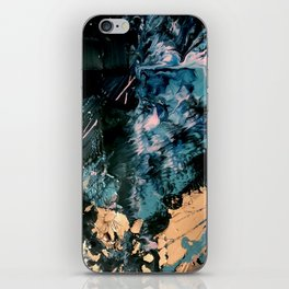 Intertstellar [2]: An abstact, mixed-media piece, in black, blue, pink, and gold iPhone Skin