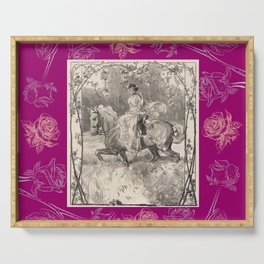 Roses & Girl riding a horse Serving Tray