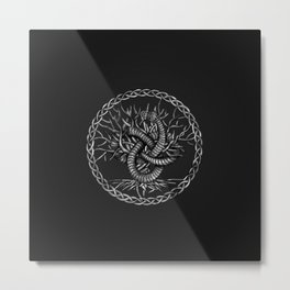 Ouroboros Celtic Knot with Tree of Life Metal Print