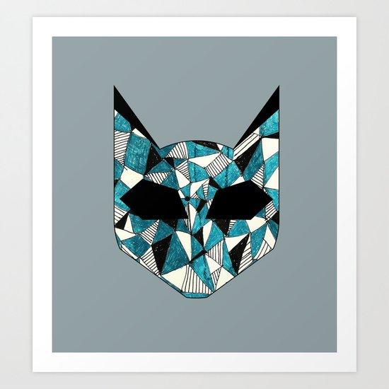 Turquoise Cat Art Print