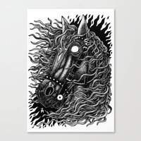 occult Canvas Prints featuring Occult horse by Iria Alcojor