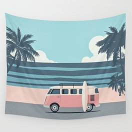 Surfer Graphic Beach Palm-Tree Camper-Van Art Wall Tapestry