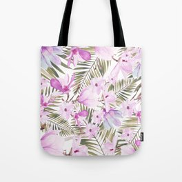 Aurora pink lavender green watercolor tropical floral Tote Bag