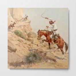 """""""Steep Trail"""" Western Art by Herman W Hansen Metal Print"""