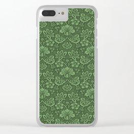VINTAGE GREEN DAMASK Pop Art Clear iPhone Case