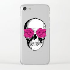 Skull and Roses | Grey and Pink Clear iPhone Case