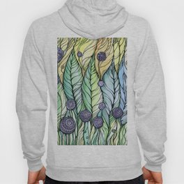 Dandelions.Hand draw  ink and pen, Watercolor, on textured paper Hoody