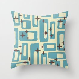 Retro Mid Century Modern Abstract Pattern 577 Blue Brown Throw Pillow