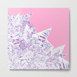 Girly Watercolor Paint and White Geometric Drawing Metal Print