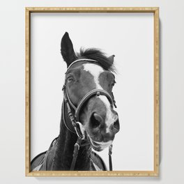 Horse Photo   Black and White Serving Tray