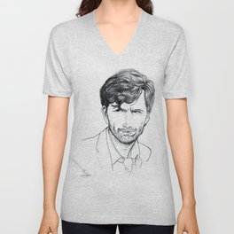 David Tennant as Broadchurch's Alec Hardy (or Gracepoint's Emmett Carver) Etching Unisex V-Neck