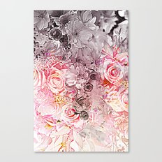 Floral in pinks and taupe Canvas Print