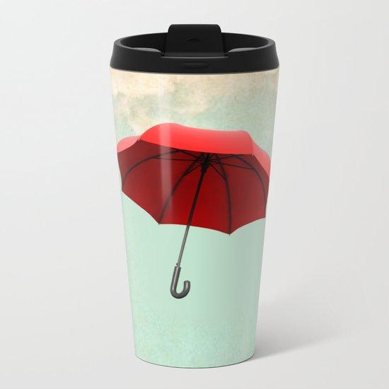 Red Umbrella Metal Travel Mug