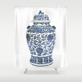 Blue & White Chinoiserie Porcelain Ginger Jar with Chrysanthemum Pattern Shower Curtain