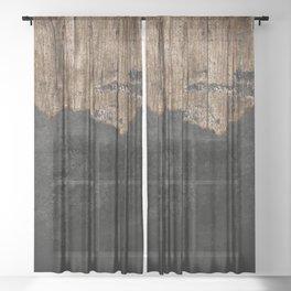 Black Grunge & wood pattern Sheer Curtain