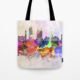Indianapolis skyline in watercolor background Tote Bag