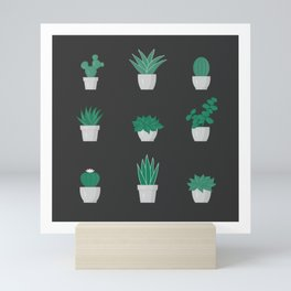 Cacti and Succulents Pattern on dark background Mini Art Print