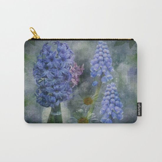 Painterly spring flowers on a grunge background Carry-All Pouch