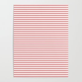 Mattress Ticking Narrow Striped Pattern in Red and White Poster