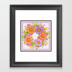 Colorful Floral Wreath on Lilac Background Framed Art Print