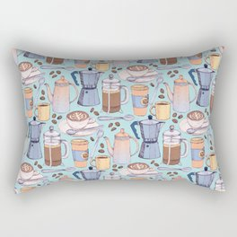 Coffee Love on Blue Rectangular Pillow