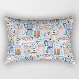 Coffee Love on Blue Rectangular Pillow