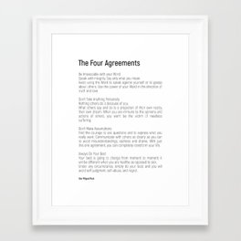 The Four Agreements #blackwhite #minimalism Framed Art Print