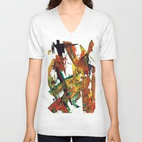 fight V-neck T-shirts featuring Fight by Dana Krystle