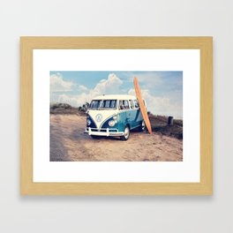 Vintage Beach Bus Framed Art Print