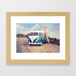 Vintage Beach Bus Framed Art Print