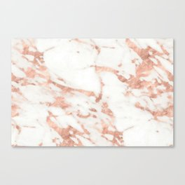 Marble - Metallic Rose Gold Marble Pattern Canvas Print
