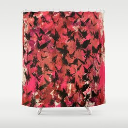 Flocking  on Setting Sky-Reds Shower Curtain