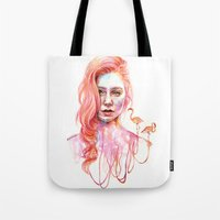 flamingo Tote Bags featuring Flamingo by Veronika Weroni Vajdová