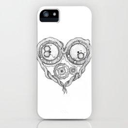 Chemistry of love: dopamine and serotonin formula (black and white version) iPhone Case