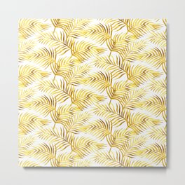 Palm Leaves_Gold and White Metal Print