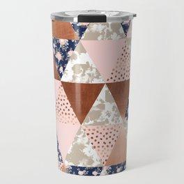 Floral bouquet pastel navy pink florals painted quilt metallic pattern basic minimal quilt pattern Travel Mug