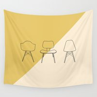 eames Wall Tapestries featuring Eames Chairs by Nadia Castro