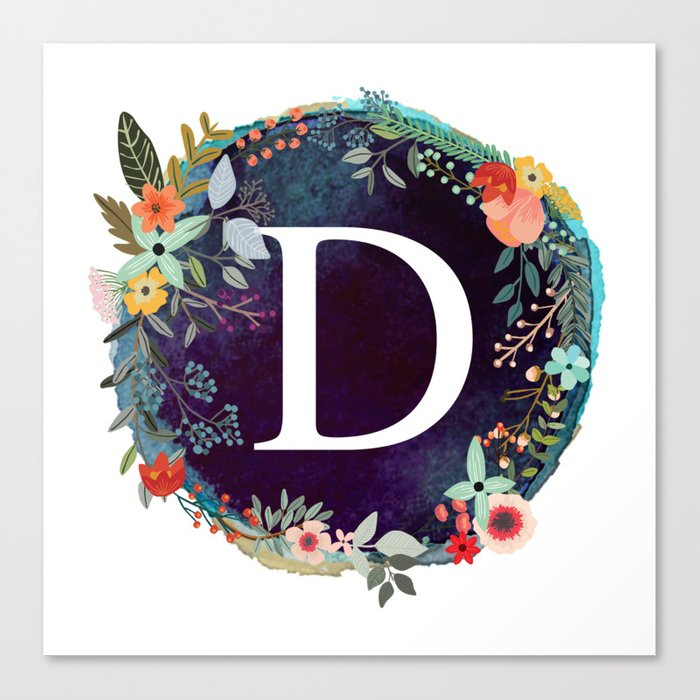 Personalized Monogram Initial Letter D Floral Wreath