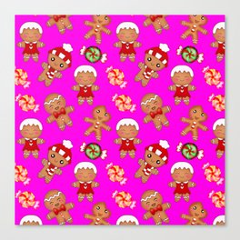 Cute decorative hygge pattern. Happy gingerbread men cookies and sweet xmas caramel toffee Canvas Print
