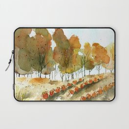 Autumn Trees and Pumpkin Patch Watercolor Laptop Sleeve