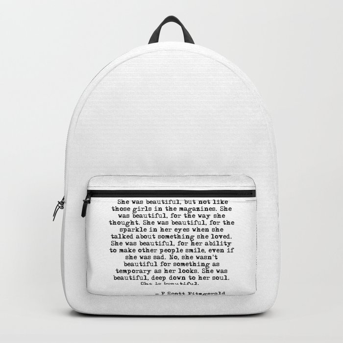 She was beautiful - Fitzgerald quote Backpack