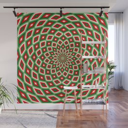 Green, Star White and Red Dome Effect Pattern Wall Mural