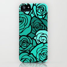 Romantic Turquoise roses with black outline Slim Case iPhone (5, 5s)