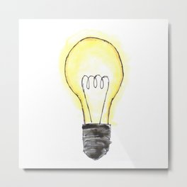 Lightbulb in Color Metal Print