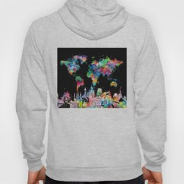 world map city skyline 3 Hoody